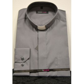 Camisa de sacerdote gris de manga larga